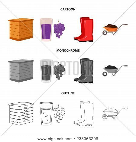 Hive, Grapes, Boots, Wheelbarrow.farm Set Collection Icons In Cartoon, Outline, Monochrome Style Vec