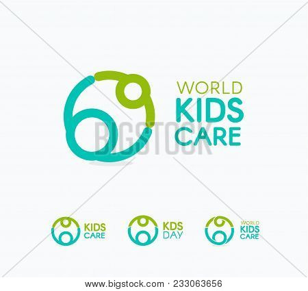 Kids Care Logo, Circular Concept Protection Child Icon, Mother And Baby Abstract Logotype, World Chi