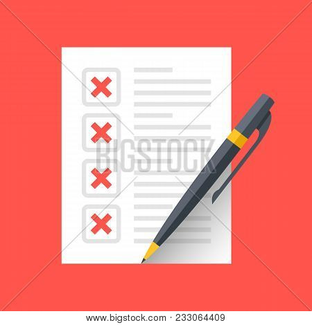 Document With X Marks And Pen. Checklist And Red Crosses Icons. Modern Flat Design Graphic Elements.
