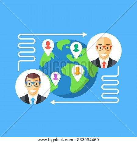 Exchange Program. Workers Or Student Exchange Program Concept. Flat Design. Vector Illustration