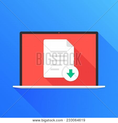 File Download Button On Laptop Screen. Downloading Document Concept. Modern Long Shadow Flat Design.