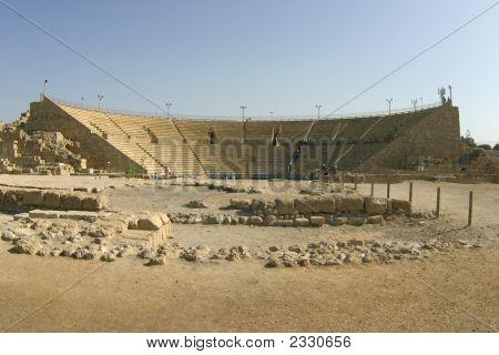 Remains Of The Ancient Roman Theater In Caesarea, Israelcaesarea, Israel