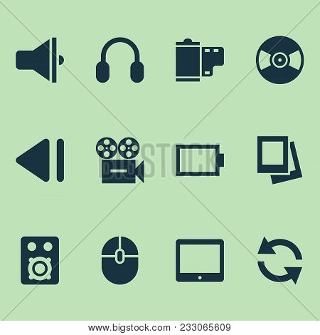Multimedia Icons Set With Energy, Amplifier, Slow Backward And Other Speaker Elements. Isolated Vect