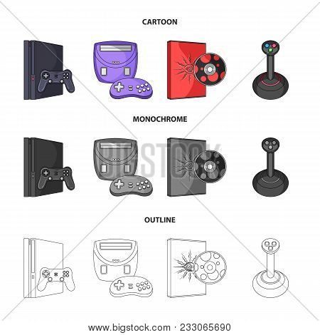 Game Console, Joystick And Disc Cartoon, Outline, Monochrome Icons In Set Collection For Design.game