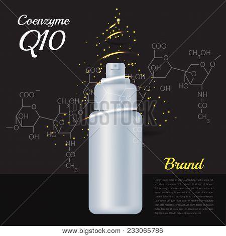 Skin Emulsion Bottle With Coenzyme Q10. Chemical Formula. Supreme Collagen Solution Serum Essence Ve