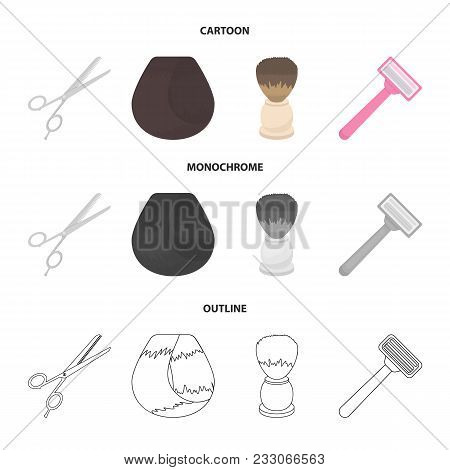 Scissors, Brush, Razor And Other Equipment. Hairdresser Set Collection Icons In Cartoon, Outline, Mo