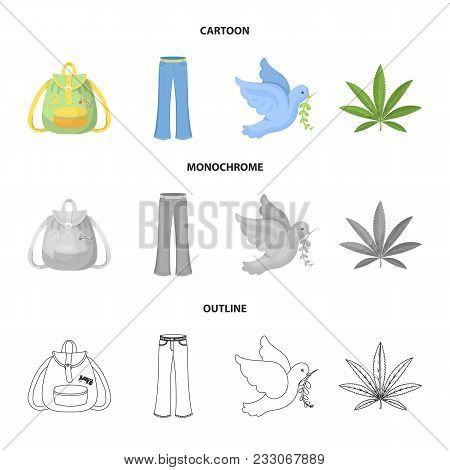 A Cannabis Leaf, A Dove, Jeans, A Backpack.hippy Set Collection Icons In Cartoon, Outline, Monochrom