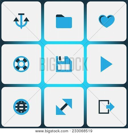 User Icons Colored Set With Exit, Play, Globe And Other Enlarge Elements. Isolated  Illustration Use