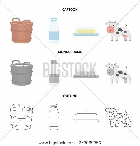 A Barrel Of Milk, Butter, A Cow. Milk Set Collection Icons In Cartoon, Outline, Monochrome Style Vec