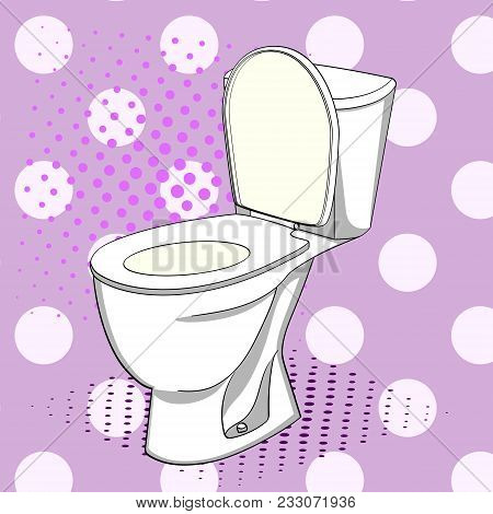 Pop Art Flush Toilet Also Known As A Flushing Toilet, Flush Lavatory Or Water Closet, Wc. Color Back