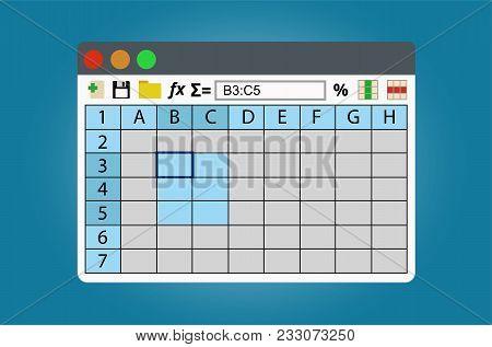 Spreadsheets Program Window. Isolated On White Background.