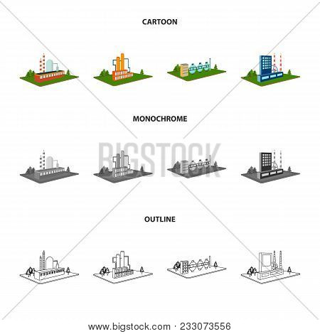 Processing Factory, Metallurgical Plant. Factory And Industry Set Collection Icons In Cartoon, Outli