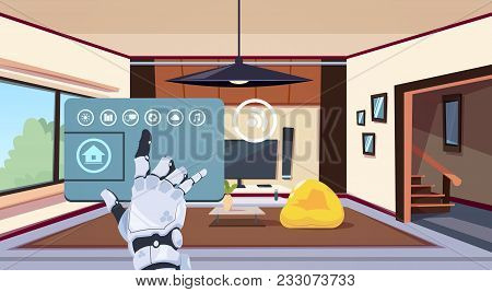 Robotic Hand Using Smart Home App Of Control System Over Living Room Background Technology