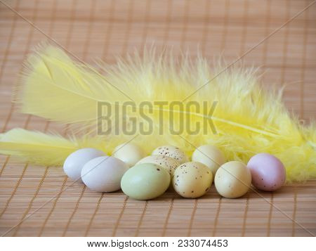 Easter Feather And Eggs Sweetperfect Colorful Sweets Easter Eggs And Feather On Wooden Background