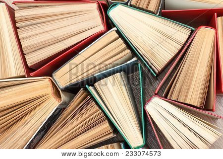 Large Number Of Colorful Books. Used Hardback Books. View From Above. Education Background