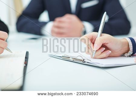 Female Hands Holding A Silver Pen Closeup. Business Financial Success, Certified Public Accountant C