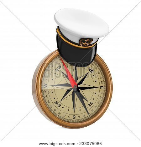Naval Officer, Admiral, Navy Ship Captain Hat Over Antique Vintage Brass Compass On A White Backgrou