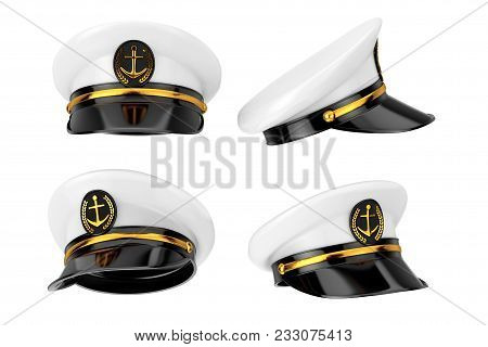 Naval Officer, Admiral, Navy Ship Captain Hat On A White Background. 3d Rendering