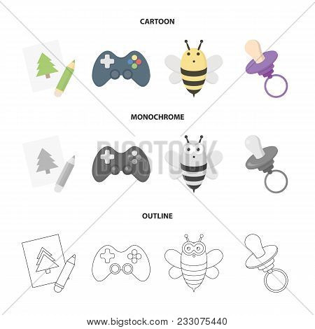Picture, Dzhostik, Bee, Nipple.toys Set Collection Icons In Cartoon, Outline, Monochrome Style Vecto