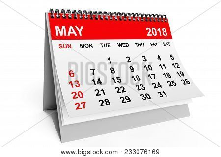 2018 Year Calendar. May Calendar On A White Background. 3d Rendering