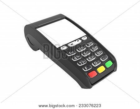 Card Payment Terminal Pos Terminal With Empty Screen Isolated On White Background 3d Render Without