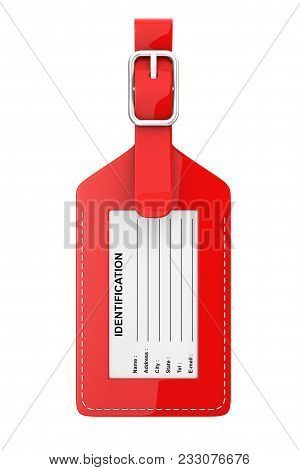 Red Leather Luggage Identification Label Tag With Name, Address, City, State And Phone Fields On A W