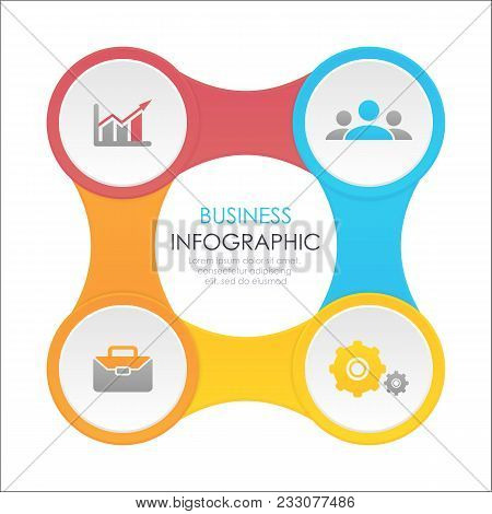 Template Infographic With 4 Elements, Steps, Options, Parts Or Processes. Designed For Business And