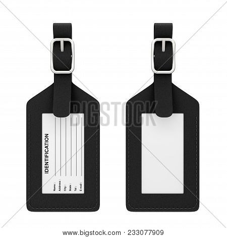 Black Leather Luggage Identification Label Tag With Name, Address, City, State And Phone Fields On A