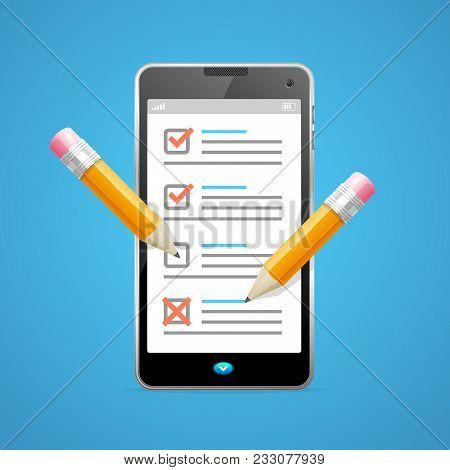 Realistic Detailed 3d Claim Form Phone For Registered Information Data Survey. Vector Illustration O