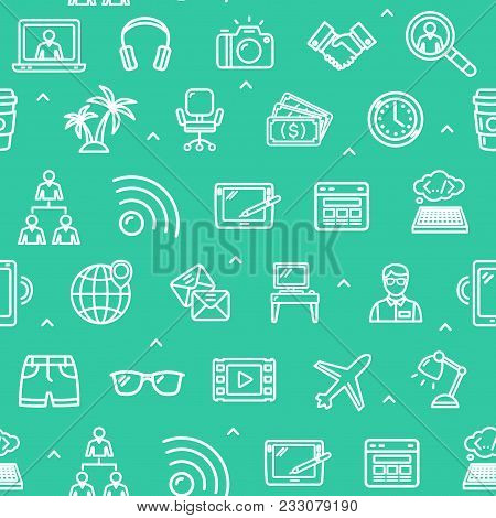 Freelance Work Signs Seamless Pattern Background For Web And App Design Include Of Research Magnifie