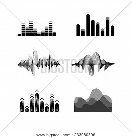 Silhouette Black Equalizer Icon Set Music Concept Decorative Element Design Style Different Types. V