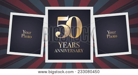 50 Years Anniversary Vector Icon, Logo. Template Design Element, Greeting Card With Collage Of Photo