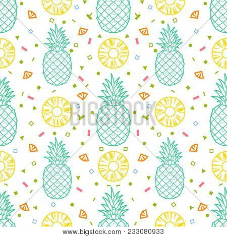 Pineapple Fruits Seamless Pattern Background Vector Format