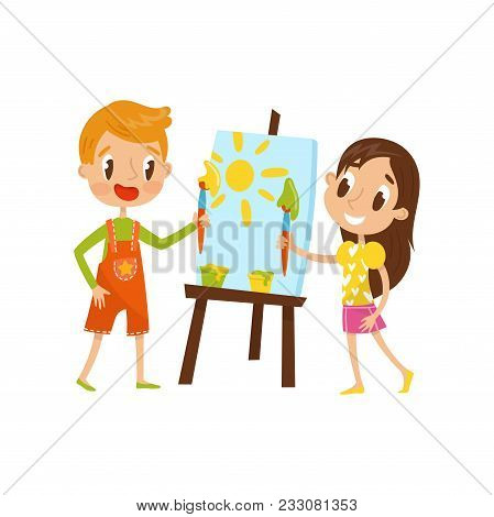 Cute Little Boy And Girl Painting On An Easel, Kids Creativity, Education And Development Concept Ve