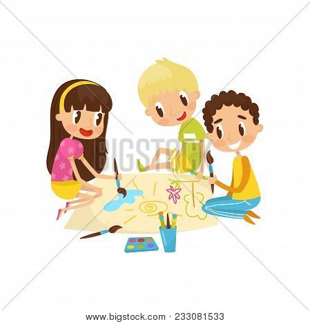 Little Kids Sitting On The Floor And Drawing Aquarell Paints On Large Sheet Of Paper, Education And