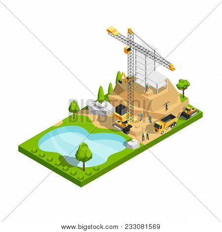 Commercial Building Construction 3d Isometric Vector Concept For Architecture Site Design. Construct
