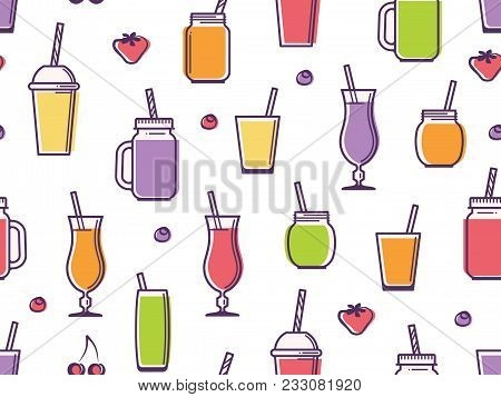 Colorful Vector Background Of Cups, Jars, Glasses And Bottles With Tasty Nonalcoholic Beverages.