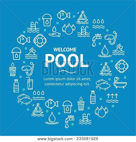 Pool And Water Signs Round Design Template White Thin Line Icon Graphic Concept Include Of Nature Aq
