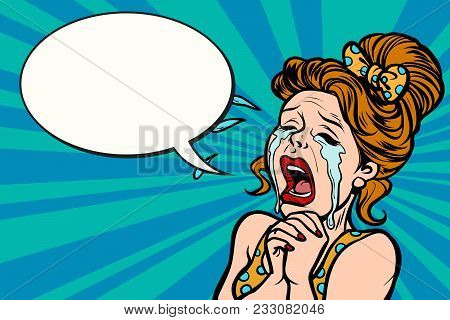 Woman Funny Cries, Many Tears. Comic Cartoons Pop Art Retro Vector Illustration Kitsch Drawing