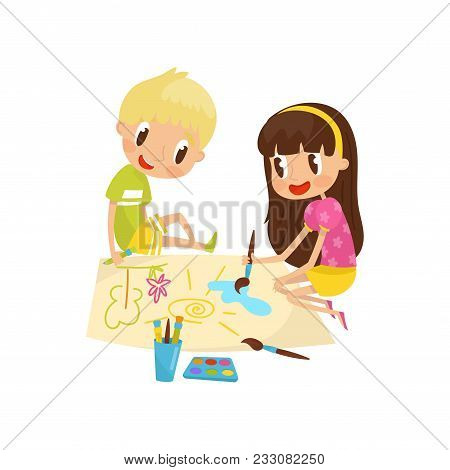 Cute Little Girl And Boy Sitting On The Floor And Drawing Paints On Large Sheet Of Paper, Education