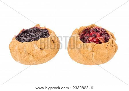Pies With Cowberries And Blueberries, Isolated On White Background