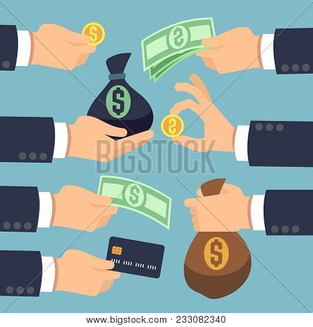 Mans Hand Holding Cash, Coins, Banknotes And Credit Card Isolated. Paying And Earnings Icons Vector