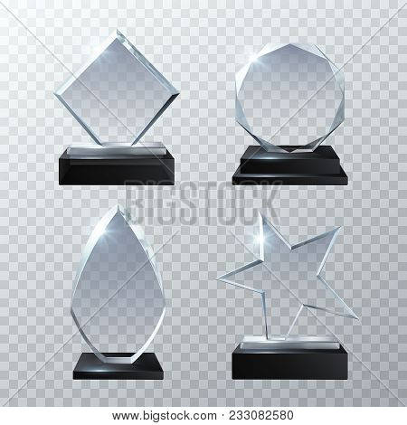 Clear Glass Trophy Awards Isolated On Transparent Background Vector Set. Glossy Board And Clear Pane