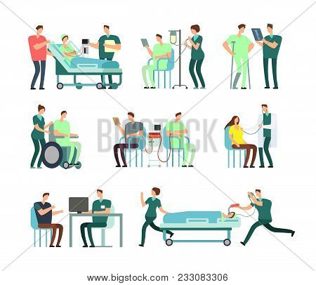 Doctors, Medical Nurse And Patients In Hospital Activity Vector People For Healthcare Concepts. Illu