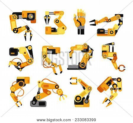 Industrial Robotic Arms Manufacture Technology Assembly Equipment Vector Set. Industry Assembly Equi