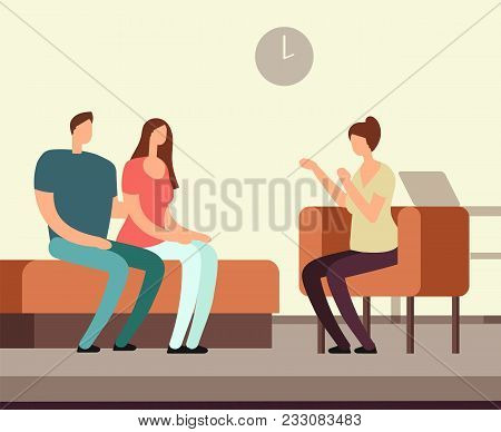 Patient On Couch Counseling With Psychologist. Addiction Mental Therapy Vector Concept. Psychotherap