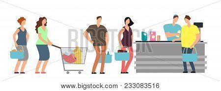 Big Queue Shopping People At Cash Desk With Cashier In Supermarket Cartoon Vector Illustration. Queu