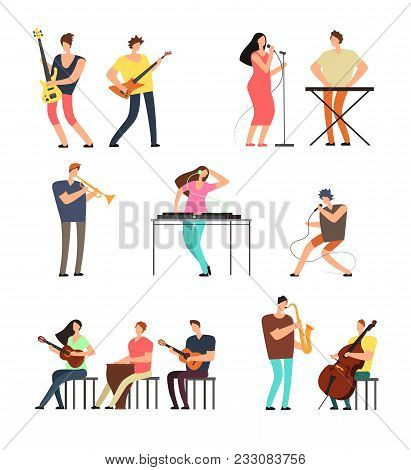 People Performing Music. Musicians With Musical Instruments. Vector Cartoon Characters Isolated. Ill