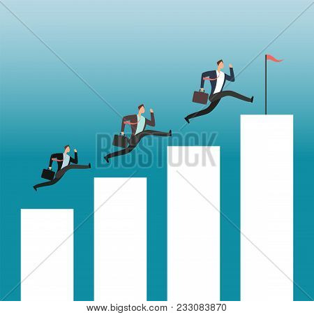 Team Reaching Goal. Successful People Running On Growing Chart Bars. Business Achievement Vector Con