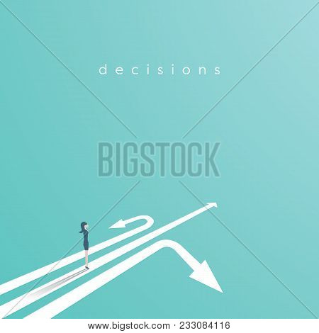 Business Decision Vector Concept With Businesswoman Standing Above Three Arrows. Business Symbol Of